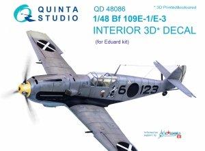 Quinta Studio QD48086 Bf 109E-1/E-3 3D-Printed & coloured Interior on decal paper (for Eduard kit) 1/48
