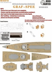 Wood Hunter W35019 Wood Deck German Admiral Graf Spee for Trumpeter 1/350