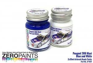Zero Paints 1671 Peugeot 306 Maxi 1996 Rally Monte Carlo Blue/White Paint Set 2x30ml