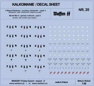 Weikert Decals DEC220 Mundury niemieckie - patki, naramienniki, insygnia na czapki - WAFFEN SS - ver.4 - vol.20 1/35
