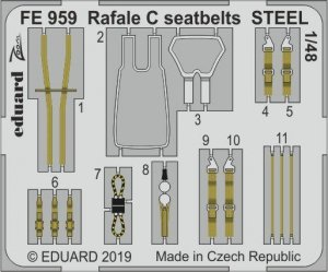 Eduard FE959 Rafale C seatbelts STEEL 1/48 REVELL