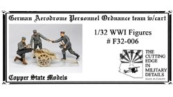 Copper State Models F32-006 German aerodrome personnel ordnance team with cart 1:32