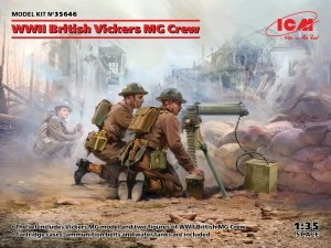 ICM 35646 WWII British Vickers MG Crew (Vickers MG & 2 figures) 1/35