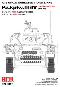 Rye Field Model 5047 Pz.Kpfw.III/IV Early Production (40cm) Workable Track Links 1/35