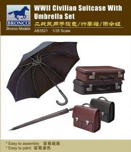Bronco AB3521 WWII Civilian Suitcase w/Umbrella Set 1/35