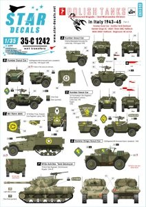 Star Decals 35-C1242 Polish Tanks in Italy 1943-45 # 3 1/35
