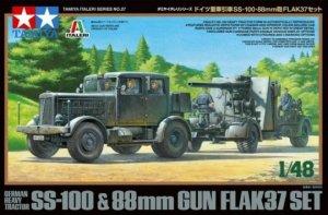 Tamiya 37027 GERMAN HEAVY TRACTOR SS-100 & 88mm GUN FLAK37 SET 1/48