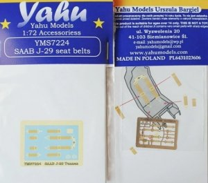 Yahu YMS7224 SAAB J-29 Tunnan seat belts 1/72
