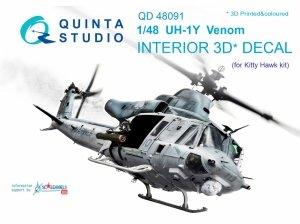 Quinta Studio QD48091 UH-1Y Venom 3D-Printed & coloured Interior on decal paper (for Kitty Hawk kit) 1/48