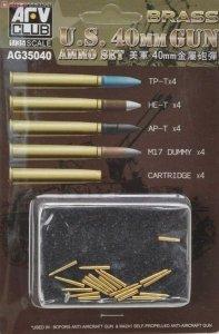 AFV Club AG35040 Bofors 40mm Brass ammo set. Includes TP-T x 4, HE-T x 4, AP-T x 4, M17 dummy x 4 and Cartridge x 4 1:35