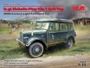 ICM 35582 le.gl.Einheitz-Pkw Kfz.1 Soft Top, WWII German Light Personnel Car 1/35
