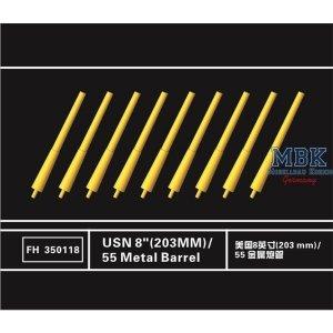 Flyhawk FH350118 USN 8 inch 203mm L/55 Metal Barrels (9 Pcs.) 1/350