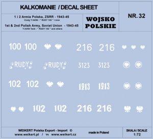 Weikert Decals DEC232 WOJSKO POLSKIE - CZOŁG T-34/85, RUDY 102 i inne / 1 i 2 Armia Polska 1/72