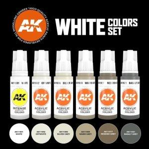 AK Interactive AK 11609 WHITE COLORS SET 6x17 ml