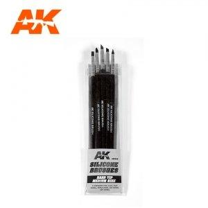 AK Interactive AK 9088 SILICONE BRUSHES HARD TIP MEDIUM 5 pcs
