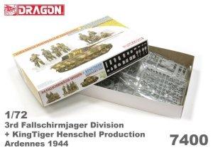 Dragon 7400 3rd Fallschirmjager Division + KingTiger Henschel Production Ardennes 1944 1/72