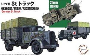 Fujimi 723211 German 3t Truck (Camouflaged/Medical Van & w/20mm Flak 38) 1/72