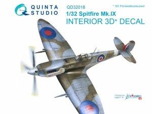 Quinta Studio QD32018 Spitfire Mk.IX 3D-Printed & coloured Interior on decal paper (for Tamiya kit) 1/32