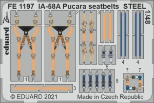 Eduard FE1197 IA-58A Pucara seatbelts STEEL KINETIC 1/48
