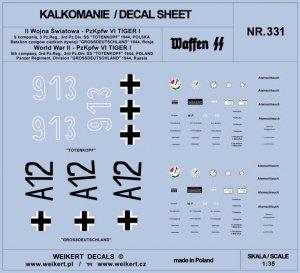 Weikert Decals DEC331 PzKpfw VI TIGER - Dywizja SS Totenkopf i Dywizja Grossdeutschland - 1944 - vol.1 1/35