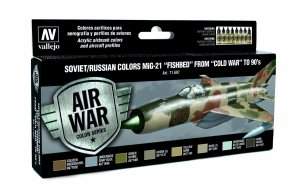 Vallejo 71607 Soviet / Russian colors MiG-21 Fishbed from 50 to 90 8x17 ml
