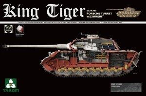 Takom 2046S King Tiger Sd.Kfz.182 PORSCHE TURRET w/ZIMMERIT /full interior w/New Track Parts 1/35