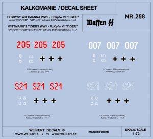 Weikert Decals DEC258 TYGRYSY WITTMANNA - czołg Pzkpfw VI TIGER - 101 schwere SS-Panzerabteilung - vol.1 1/72