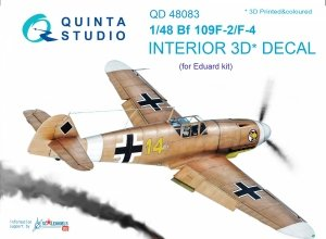 Quinta Studio QD48083 Bf 109F-2/F-4 3D-Printed & coloured Interior on decal paper (for Eduard kit) 1/48