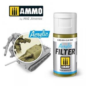 Ammo of Mig 0814 ACRYLIC FILTER Olive Drab 15 ml