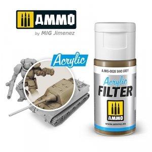 Ammo of Mig 0828 ACRYLIC FILTER Sand Grey 15 ml