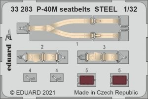 Eduard 33283 P-40M seatbelts STEEL TRUMPETER 1/32