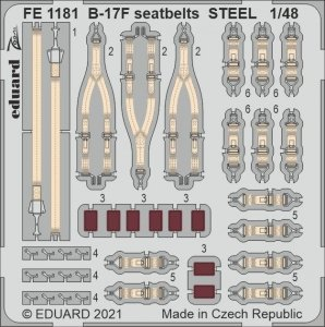 Eduard FE1181 B-17F seatbelts STEEL HKM 1/48