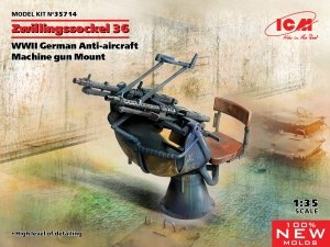 ICM 35714 Zwillingssockel 36 WWII German Anti-aircraft Machine gun Mount 1/35