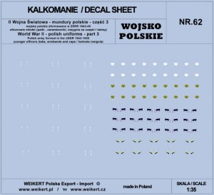 Weikert Decals DEC262 Mundury polskie - patki, naramienniki, insygnia na czapki i hełmy - cześć 3 - vol.62 1/35