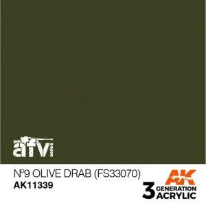 AK-Interactive AK 11339 Nº9 Olive Drab (FS33070) 17ml