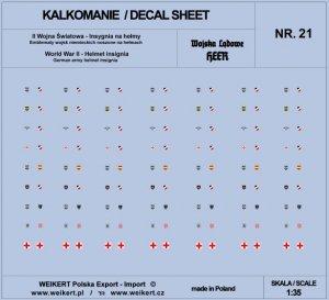 Weikert Decals DEC221 Emblematy na hełmy niemieckie - HEER - vol. 21 1/35