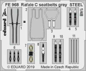 Eduard FE968 Rafale C seatbelts grey STEEL 1/48 REVELL