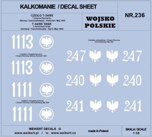 Weikert Decals DEC236 WOJSKO POLSKIE - CZOŁG T-34/85 - 1 Korpus Pancerny 1/35