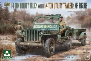 Takom 2126 1/4 Ton Utility Truck with 1/4 Ton Utility Trailer & MP Figure 1/35