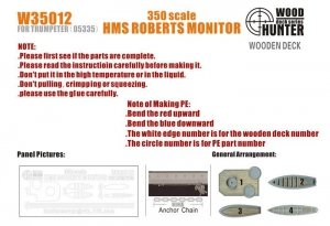 Wood Hunter W35012 Wood Deck HMS Roberts Monitor for Trumpeter 1/350