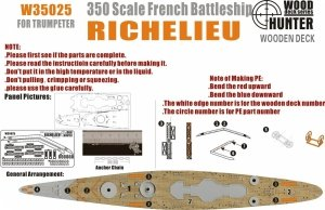 Wood Hunter W35025 Wood deck French Richelieu for Trumpeter 1/350