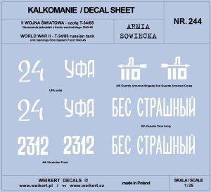 Weikert Decals DEC244 Armia Sowiecka - CZOŁG T-34/85 - front wschodni 1943-45 - vol.3 1/35