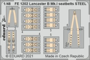 Eduard FE1202 Lancaster B Mk.I seatbelts STEEL HK Models 1/48
