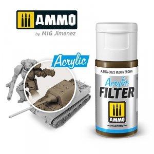 Ammo of Mig 0823 ACRYLIC FILTER Medium Brown 15 ml