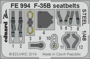 Eduard FE994 F-35B seatbelts STEEL 1/48 KITTY HAWK