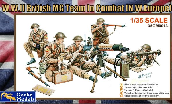 Gecko Models 35GM0013 WWII BRITISH MG TEAM IN COMBAT  (1:35)