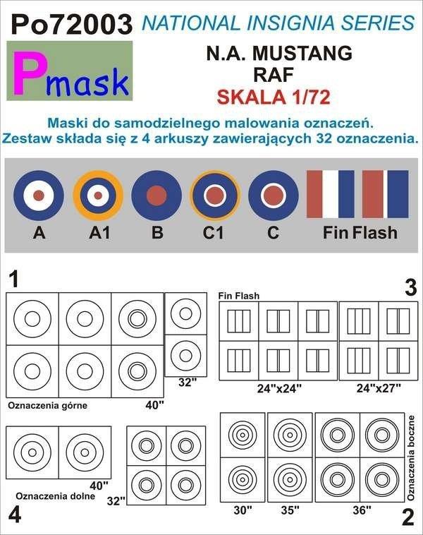 P-Mask PO72003 MASKI DO MALOWANIA OZNACZEŃ N.A. MUSTANG RAF (1:72)