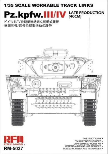 Rye Field Model 5037 Pz.Kpfw.III/IV Late Production (40cm) Tracks 1/35