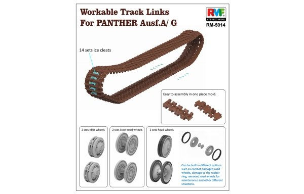Rye Field Model 5014 Workable Track Links for Panther Ausf. A/G 1/35