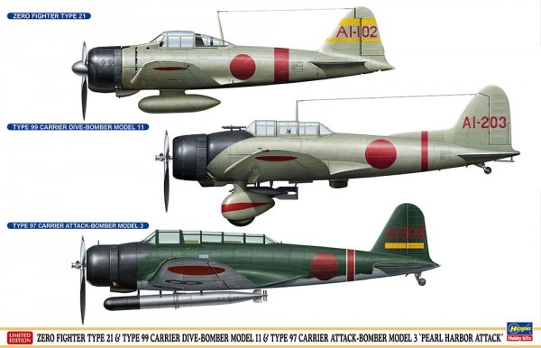 Hasegawa SP348 (52148) ZERO FIGHTER 21 & TYPE 99 MODEL 11 & TYPE 97 MODEL 3 PEARL HARBOR 1/48